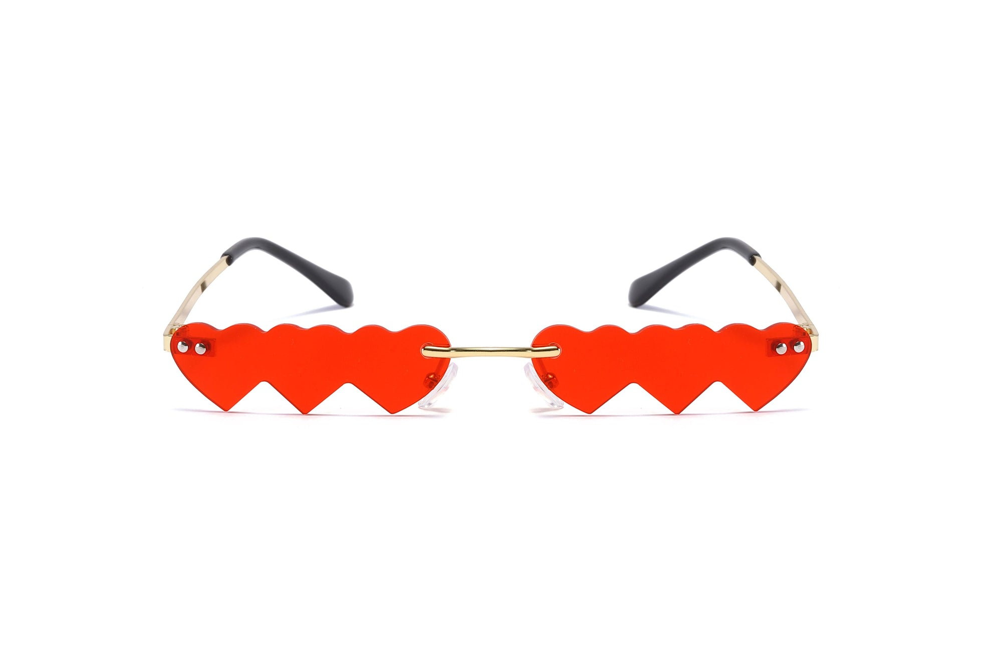 W2008 - Rimless Small Hearts-In-A-Row Retro Party Sunglasses