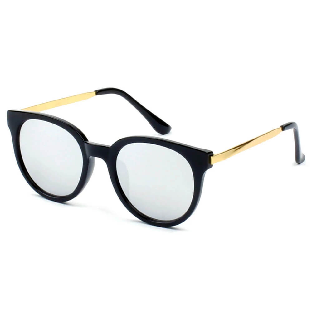 58006 Vintage Horn Rimmed Round Sunglasses w/ Gold Arms - Iris Fashion Inc. | Wholesale Sunglasses and Glasses