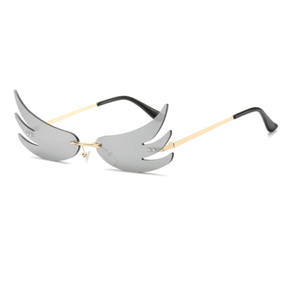 W2006 - Rimless Wings Shape High Pointed Tinted Party Sunglasses