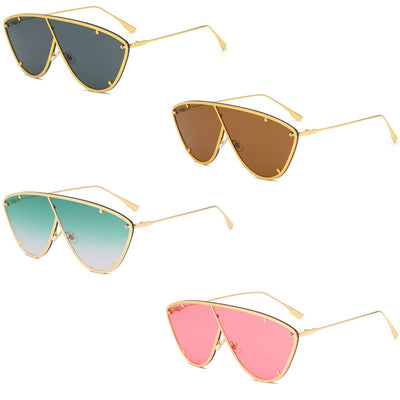 58127 - Metal Flat Top Oversize Women Fashion Sunglasses
