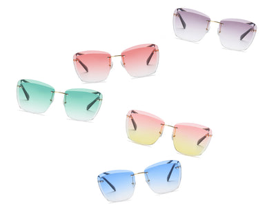 S2040 - Women Rimless Tinted Lens Square Sunglasses - Iris Fashion Inc. | Wholesale Sunglasses and Glasses