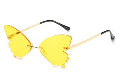 9043 - Women Rimless Butterfly Tinted Fashion Sunglasses