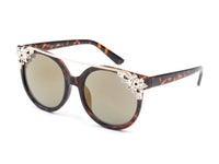 D40 Designer Brow Bar Horned Floral Rim Sunglasses - Wholesale Sunglasses and glasses