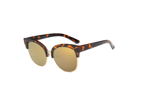 D67 Flat Mirrored Lens Clubmaster Sunglasses - Wholesale Sunglasses and glasses