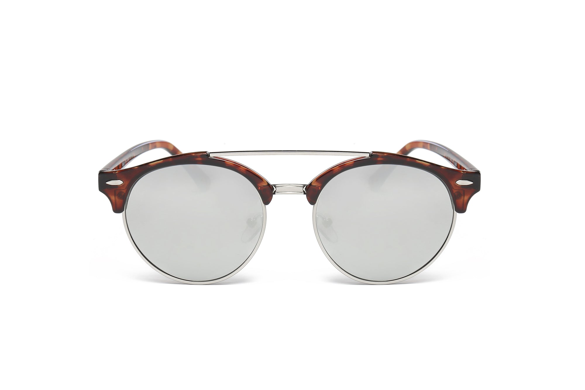 E22 - Round Circle Half Frame Mirrored Lens Sunglasses - Wholesale Sunglasses and glasses