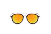 E16 - Round Horn Rimmed Mirrored Sunglasses - Iris Fashion Inc. | Wholesale Sunglasses and Glasses