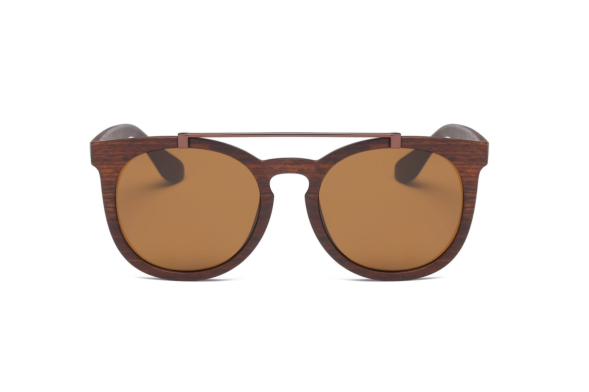 S1008 - Trendy Top Bar Keyhole Bridge Round Sunglasses - Wholesale Sunglasses and glasses