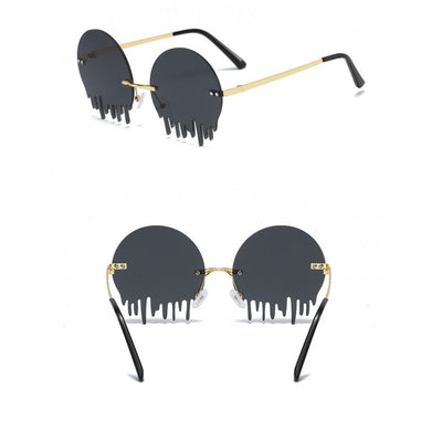 W2017 - Rimless Metal Round Tear Drop Women Men Party Colored Sunglasses