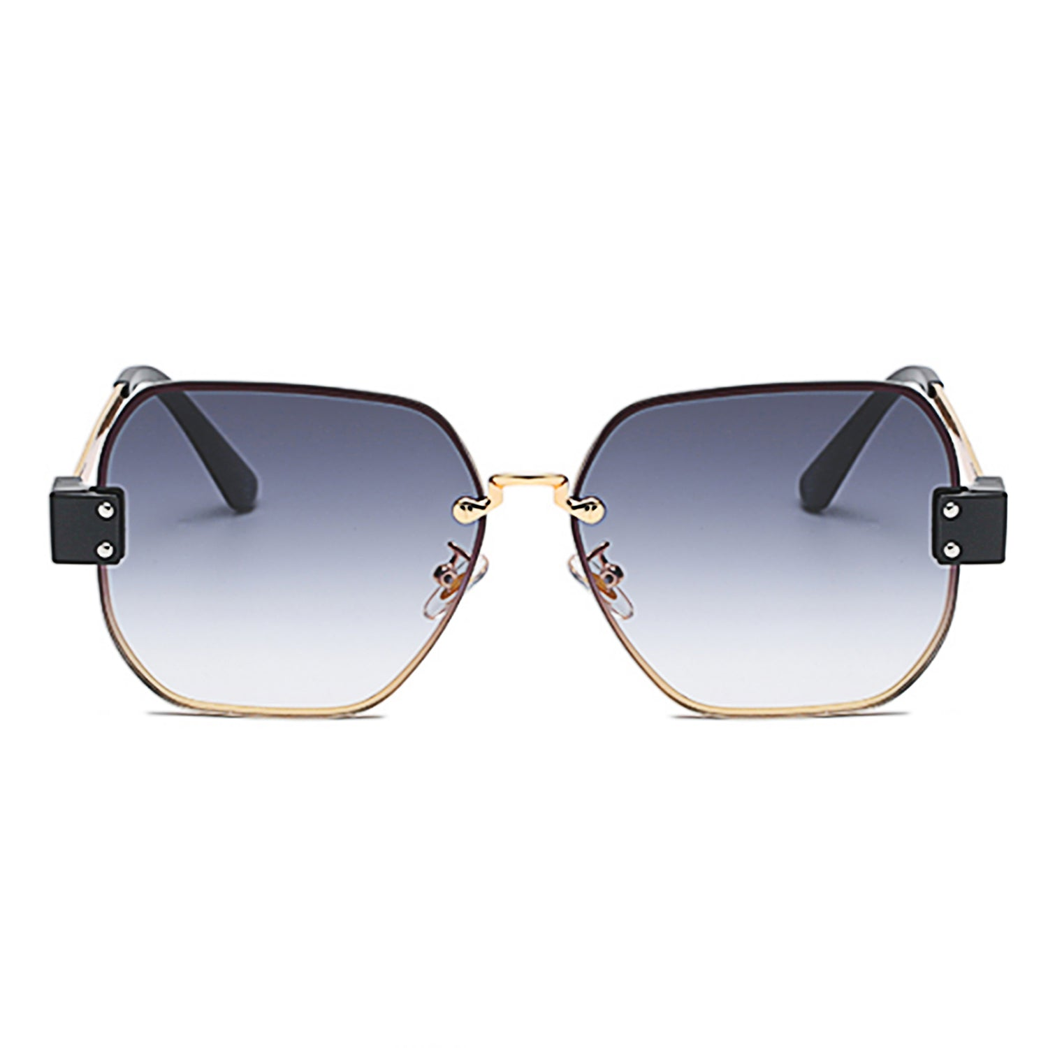 J3004 - Retro Square Geometric Metal Fashion Designer Sunglasses