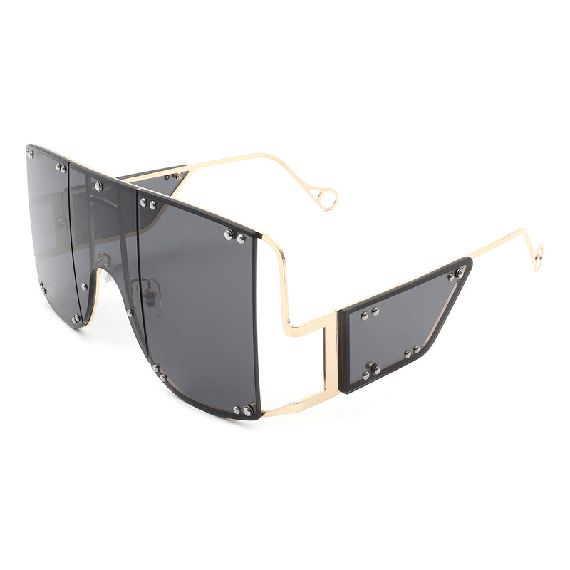 HJ3007 - Retro Square Oversize Metal Fashion Designer Sunglasses