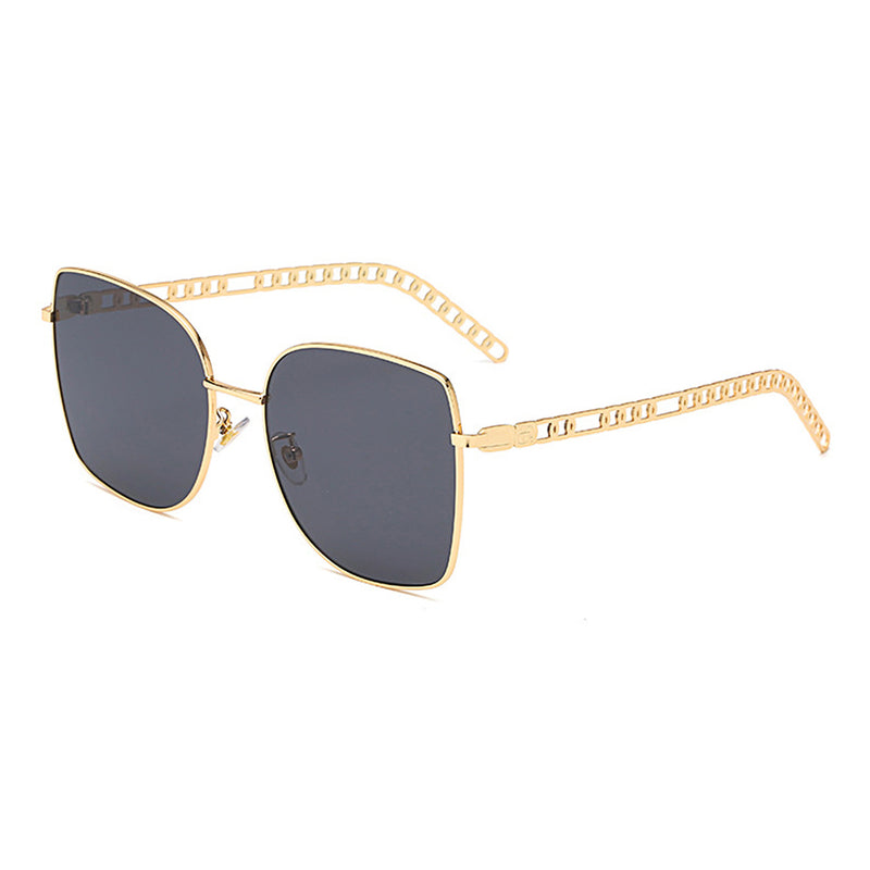 J3003 - Retro Square Oversize Metal Designer Fashion Sunglasses