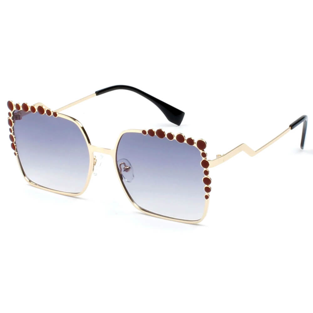 FF0115/S Luxury Fashion Oversize Square Metal Frame Sunglasses - Iris Fashion Inc. | Wholesale Sunglasses and Glasses