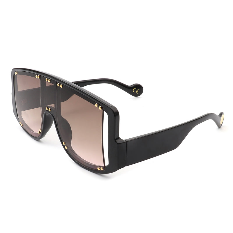 HS3004 - Oversize Retro Square  Vintage Shield Visor Sunglasses