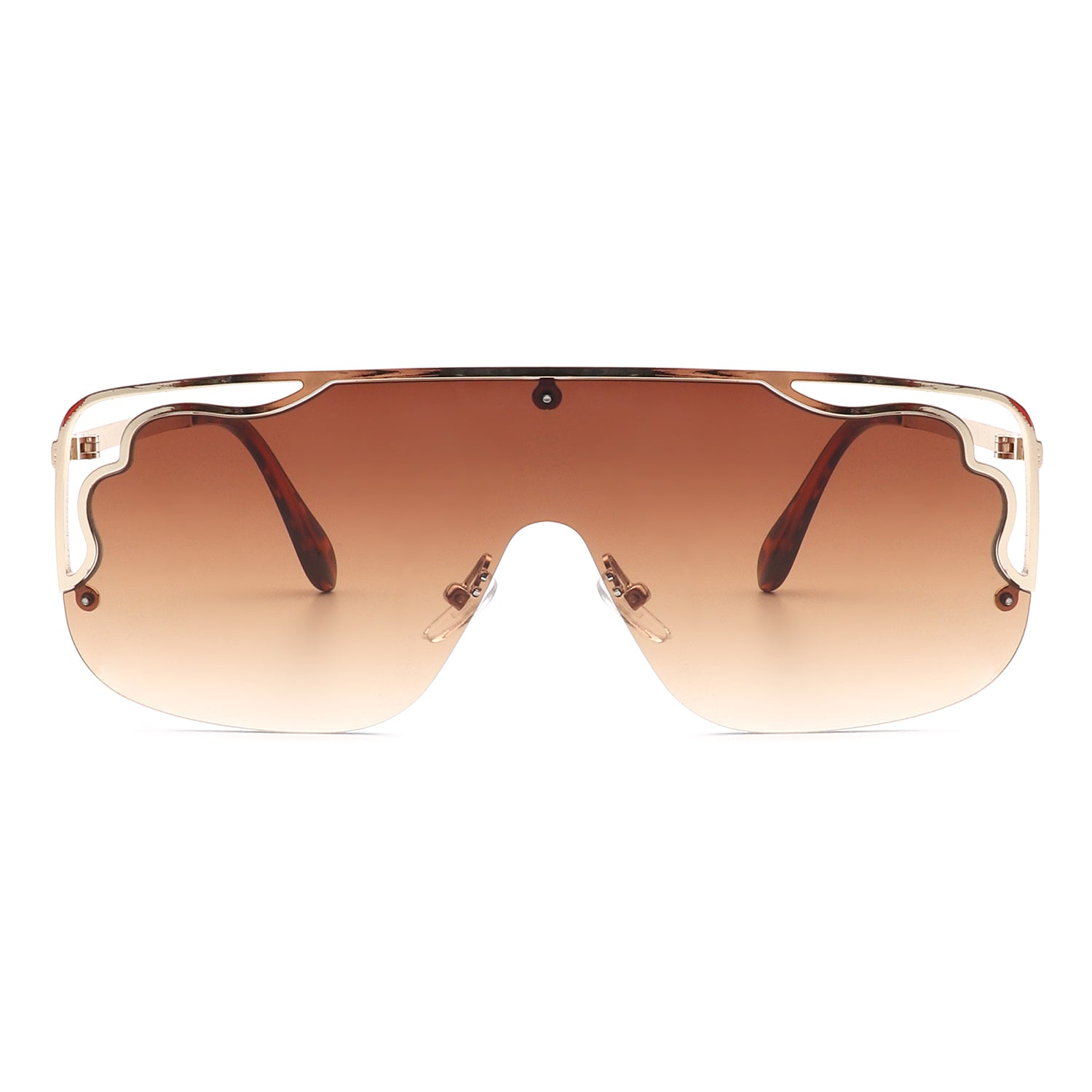 HJ3006 - Square Half Frame Aviator Designer Fashion Sunglasses