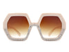 HS1005 - Women Round Geometric Rhinestone Fashion Sunglasses
