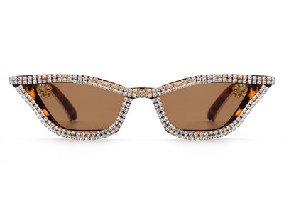 HS3001 - Women Retro Vintage Slim Cat Eye Rhinestone Fashion Sunglasses