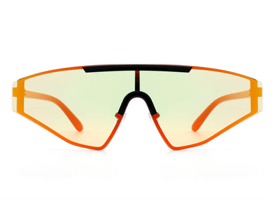 HW3005 - Flat Top Rectangle Tinted Shield Wrap Designer Fashion Sunglasses