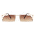 HJ2005 - Retro Half Frame Vintage Rectangle Designer Fashion Sunglasses