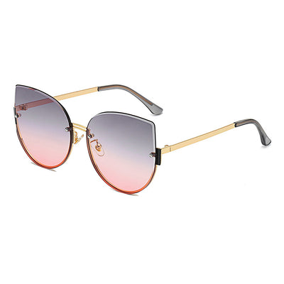 J3005 - Women Round Half Frame Retro Cat Eye Metal Fashion Sunglasses