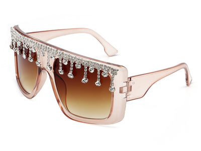 HS2004 - Women Oversize Square Rhinestone Drip Fashion Sunglasses