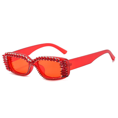 90745 - Retro Vintage Rectangle Rhinestone Diamond Fashion Sunglasses