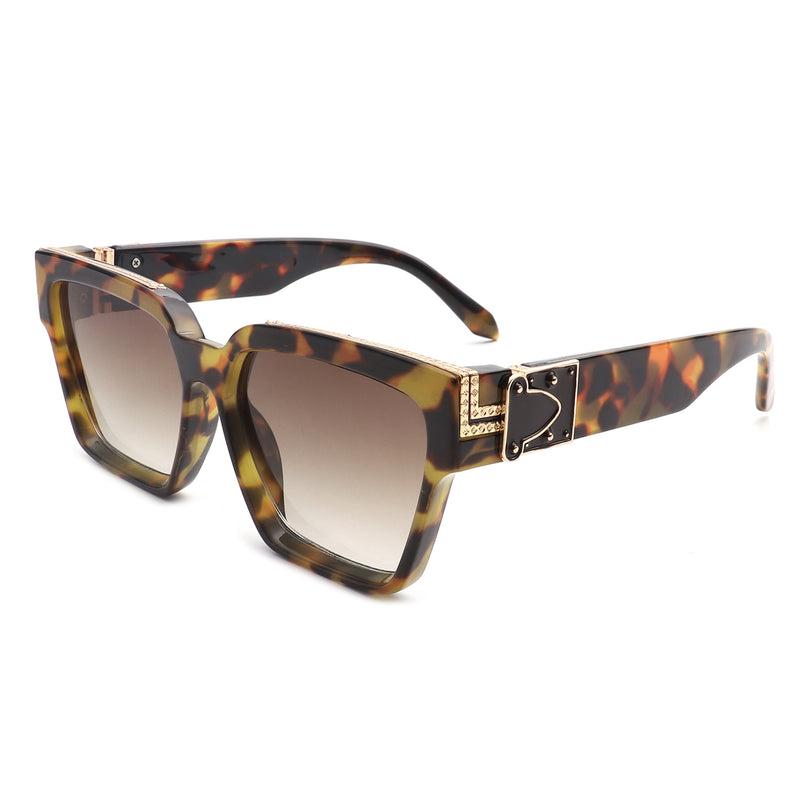 HS3006 - Square Bold Retro Thick Vintage Designer Fashion Sunglasses