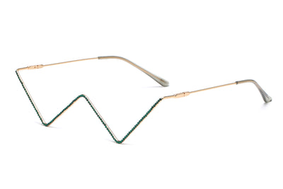 H1014 - Decorative Metal Colored Frame No Lens V Shape Fashion Glasses