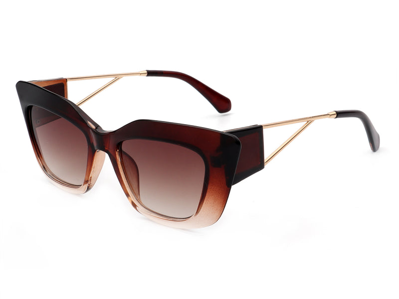 HS2009 - Women Bold Retro Square Fashion Cat Eye Sunglasses