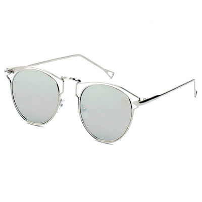 D39 - Trendy Round Cut Out Browline Sunglasses - Iris Fashion Inc. | Wholesale Sunglasses and Glasses