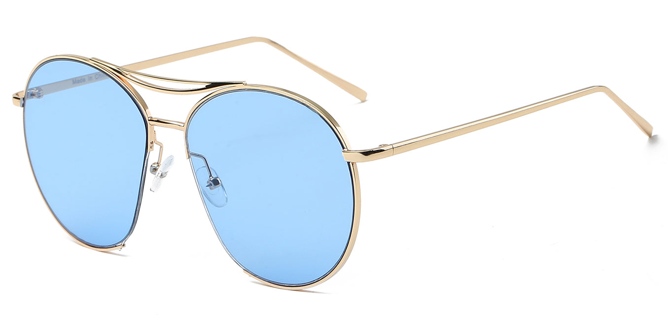 S2036 - Oversize Tinted Lens Round SUNGLASSES Blue