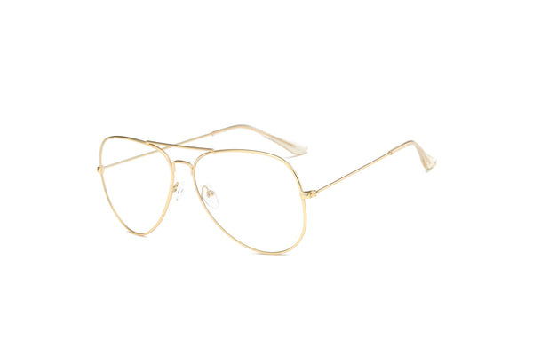 F1001 Trendy Aviator Clear Lens Glasses - Wholesale Sunglasses and glasses