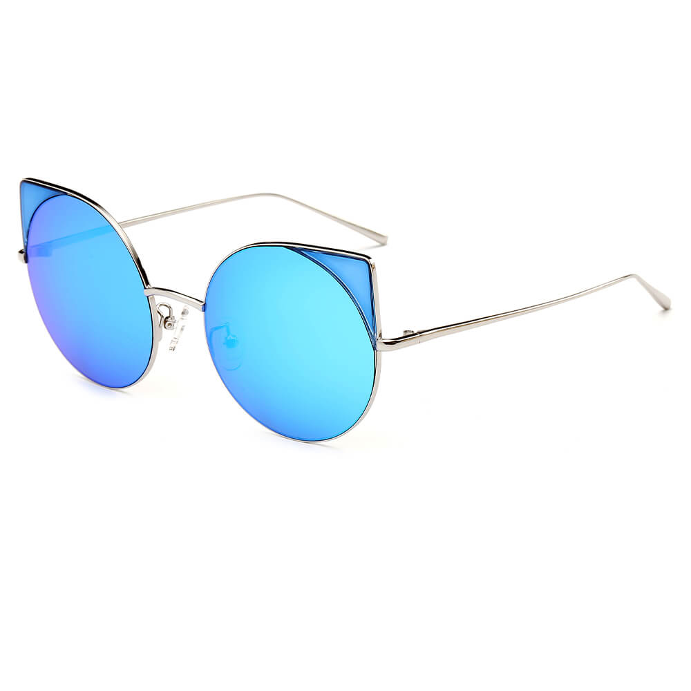 Classic Retro Look Chic Womens Blue Mirrored Lens Black Round Cat Eye Sunglasses