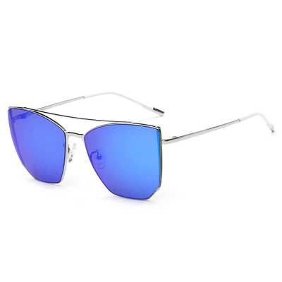 CA06 - Oversize Polygon Mirrored Lens Cat Eye Sunglasses - Iris Fashion Inc. | Wholesale Sunglasses and Glasses