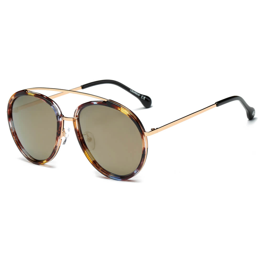 CA13 - Polarized Circle Round Brow-Bar Fashion Sunglasses - Iris Fashion Inc. | Wholesale Sunglasses and Glasses