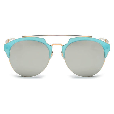 CA15 Half Frame Mirrored Lens Horned Rim Sunglasses - Iris Fashion Inc. | Wholesale Sunglasses and Glasses