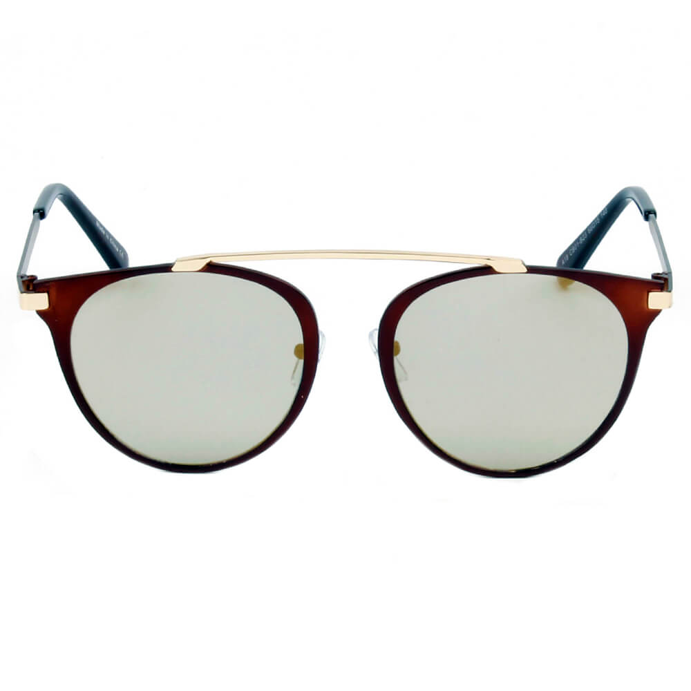 A18 Modern Horn Rimmed Metal Frame Round Sunglasses - Wholesale Sunglasses and glasses