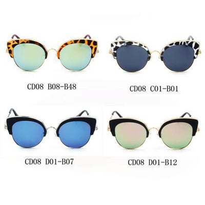 CD08 - Women Half Frame Round Cat Eye Sunglasses - Iris Fashion Inc. | Wholesale Sunglasses and Glasses