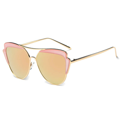 CD11 Women's Brow Bar Mirrored Lens Cat Eye Sunglasses - Wholesale Sunglasses and glasses