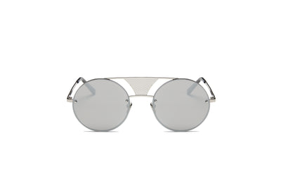 S2012 - Modern Fashion Round Flat Divider Bridge Sunglasses - Iris Fashion Inc. | Wholesale Sunglasses and Glasses