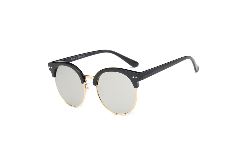 e848af6658f9c D66 Retro Fashion Round Clubmaster Flat Lens Sunglasses - Wholesale  Sunglasses and glasses here we show