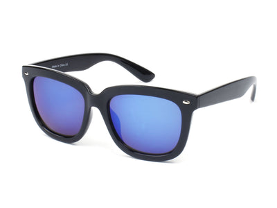 E08 - Hipster Thick Frame Square Mirrored Lens Sunglasses - Iris Fashion Inc. | Wholesale Sunglasses and Glasses