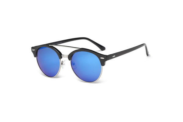 E22 Round Half Frame Flat Mirrored Lens Sunglasses - Wholesale Sunglasses and glasses