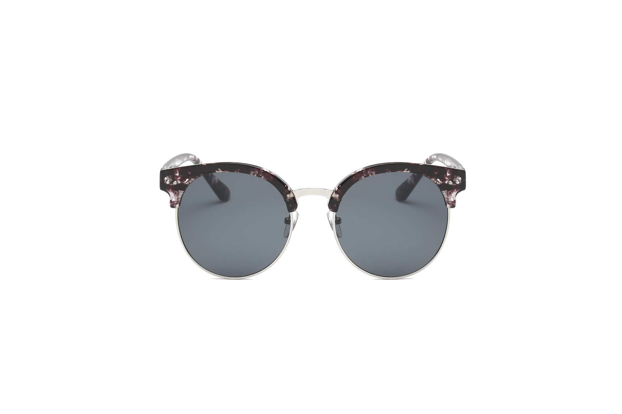 D66 - Retro Fashion Round Clubmaster Flat Lens Sunglasses - Iris Fashion Inc. | Wholesale Sunglasses and Glasses