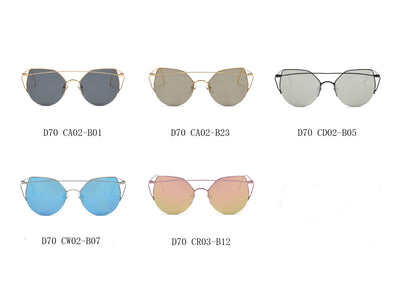 D70 - Modern Cat Eye Mirrored Flat Lens Sunglasses - Iris Fashion Inc. | Wholesale Sunglasses and Glasses