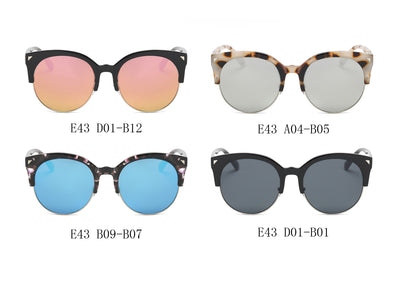 E43 - Modern Round Half Frame Mirrored Flat Lens Sunglasses - Wholesale Sunglasses and glasses