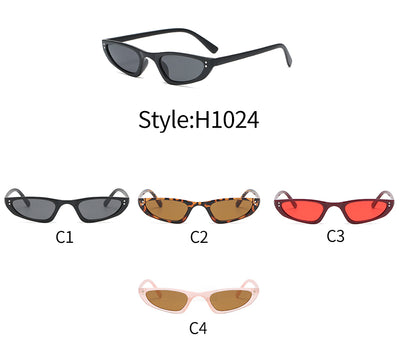 H1024 - Retro Slim Rectangle Vintage Fashion Sunglasses