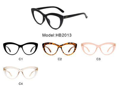 HB2013 - Women Retro Bold Round Cat Eye Fashion Blue Light Blocker Glasses