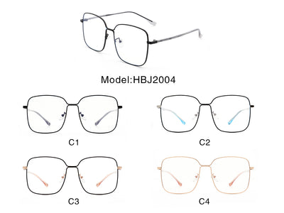 HBJ2004 - Square Oversize Metal Fashion Blue Light Blocker Glasses