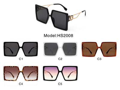HS2008 - Women Square Oversize Designer Fashion Sunglasses
