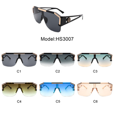 HS3007 - Square Retro Vintage Bold Aviator Fashion Sunglasses